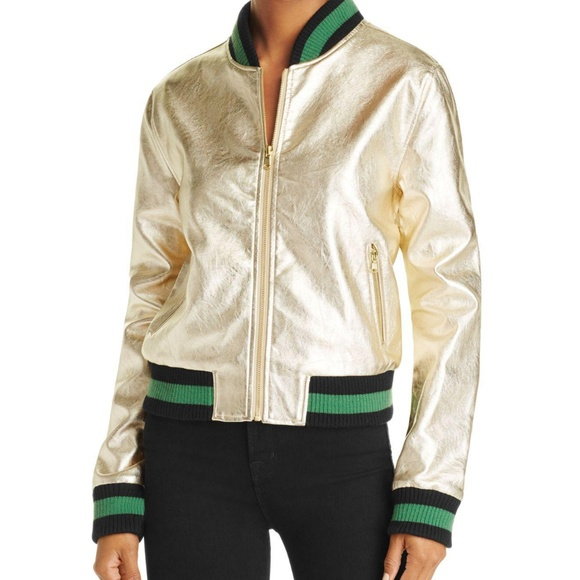 addf5fb18 Metallic Gold Black faux leather bomber jacket